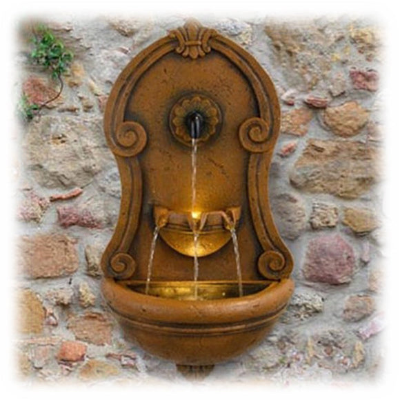 Handsome brownstone colored antique style lighted pouring wall fountain