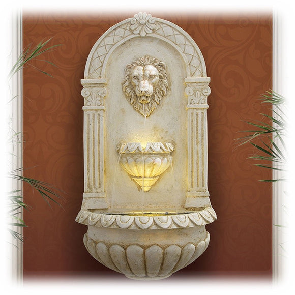 Tall and majestic lion's head lighted wall fountain in antique wash faux stone finish