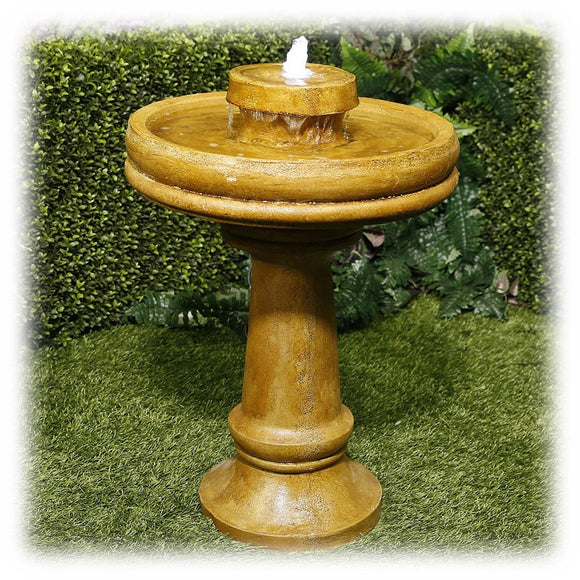 Graceful Tapered Pedestal Faux Stone Earthtone Color Lighted Bubbling Bird Bath Fountain