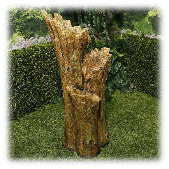 Three tiered standing log style lighted waterfall pouring outdoor fountain