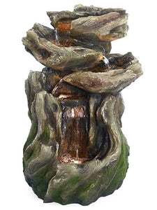 Four lighted tiers in a mossy log tall outdoor water fountain with great detailing