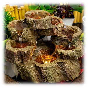 Tiered and Circular Hollow Logs with Lights Inside Multi Stream Outdoor Fountain