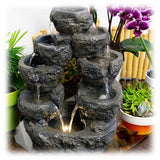 Dark speckled gray multi-stream, multi-tiered and lighted tabletop or outdoor fountain