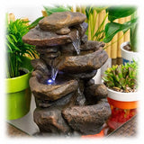 "Tiered Faux Rocks 11"" Lighted Waterfall Outdoor Fountain"