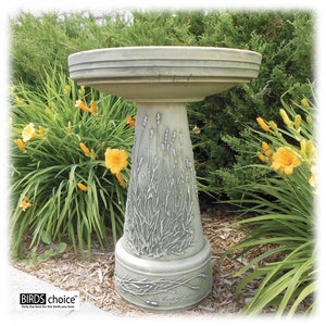 "Lavender Flower Design on Tapered Base 22.5"" Decorative Ceramic Bird Bath"