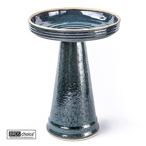 "This image pictures the glossy dark mottled green, two-piece birdbath fully assembled, with the wide, tapered pedestal and 16.75"" diameter basin shown against a white studio background."