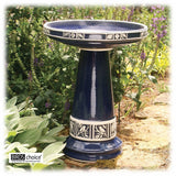 "Hand Painted Blue 22"" Ceramic Bird Bath with Lock-on Basin from the Zanesville Collection"