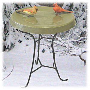 "This black metal tripod stand has a simple, modern design and a 19.25"" diameter ring at the top that will fit any large bird bath basin. It's shown placed in a winter setting, with a pair of adult cardinals perched in a heated olive green basin, with snow and ice covered branches in the background."