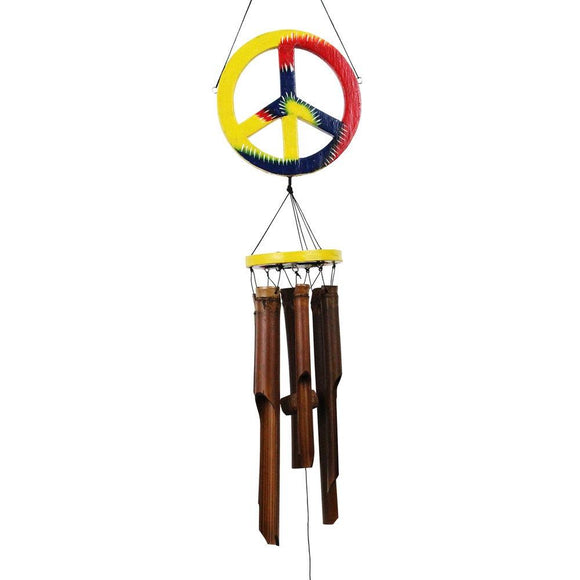 Hand Crafted Natural Bamboo Wind Chime Set with Peace Sign Topper
