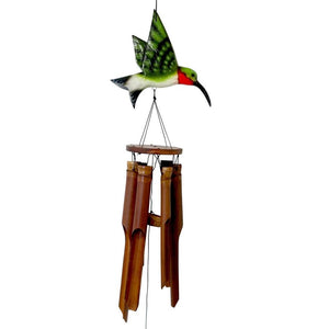 Natural Handmade Bamboo Wind Chime with Green Hummingbird on Top