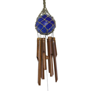 Blue 4-Inch Glass Ball in Knotted Net Bamboo Wind Chime