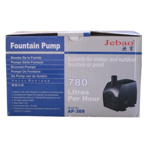This image shows the packaging with the base of the pump on a gray background, and general product specifications in Spanish, Italian, Dutch, French, and Flemish. The box is shown on a white studio background.