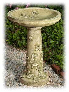 "Hand Crafted Butterfly Design 26.25"""" Cast Concrete Bird Bath"