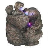 "Small 9"" Tall Playful Sea Otter Couple Lighted Outdoor Water Fountain"