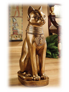 "Egyptian Bastet Cat Goddess 24"" Gold Colored Decorative Outdoor Sculpture"