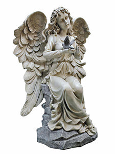 "Two Tone Nature's Blessing 19"" Decorative Outdoor Angel Sculpture"