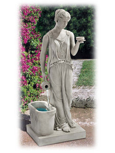 "Classic Standing Goddess of Youth 37.5"" Sculptured Outdoor Fountain"