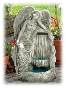 "Angel of Grace Resting by Waterfall 28"" Sculpture Outdoor Fountain"