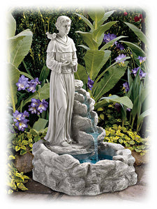 "St. Francis Standing by Waterfall 29"" Sculptural Outdoor Fountain"