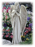 "Detailed Antique White Angel in Prayer 13.5"" Religious Statue"