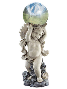 "Garden Cherub with Gazing Globe 25"" Decorative Outdoor Sculpture"