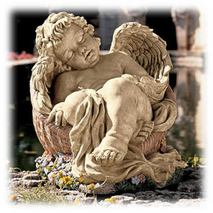 "Sleepy Cherub in a Basket 12.5"" Faux Stone Decorative Outdoor Sculpture"