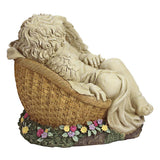 "Large 12.5"" Tall Slumbering Cherub Garden Statue in a Flower Basket"