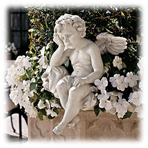 "Antique White Mournful Cherub 13"" Decorative Outdoor Sculpture"
