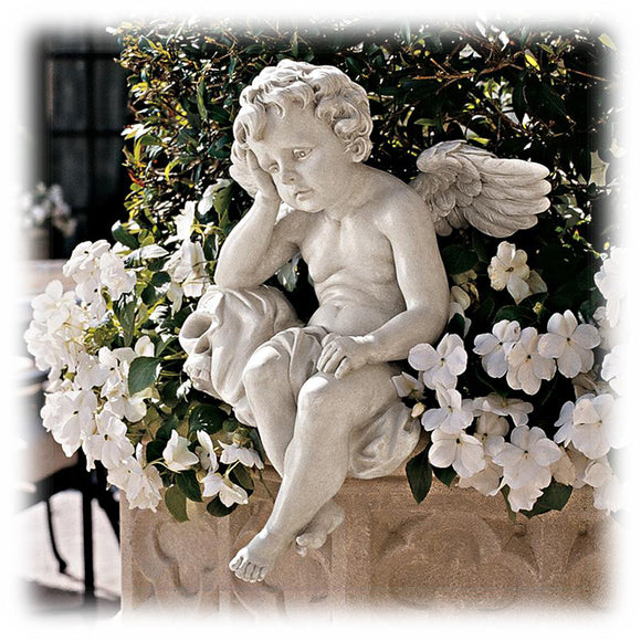 Antique White Mournful Cherub 13