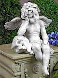 Antique White Mournful Cherub 13 Inch Decorative Outdoor Sculpture