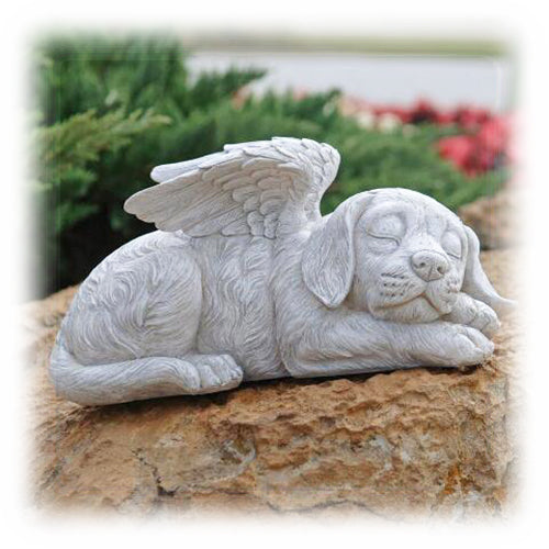 Off White Sleeping Angel Puppy Decorative Memorial Figurine