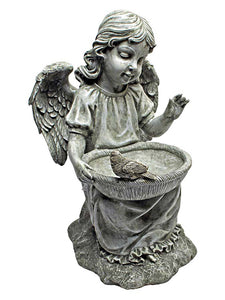 "Antique Gray 14.5"" Angel with Seed Bowl and Perched Bird Decorative Outdoor Sculpture"