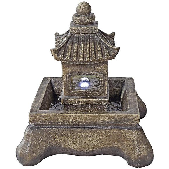 Japanese Pagoda Style Lighted Faux Stone 23.5  Inch Outdoor Fountain