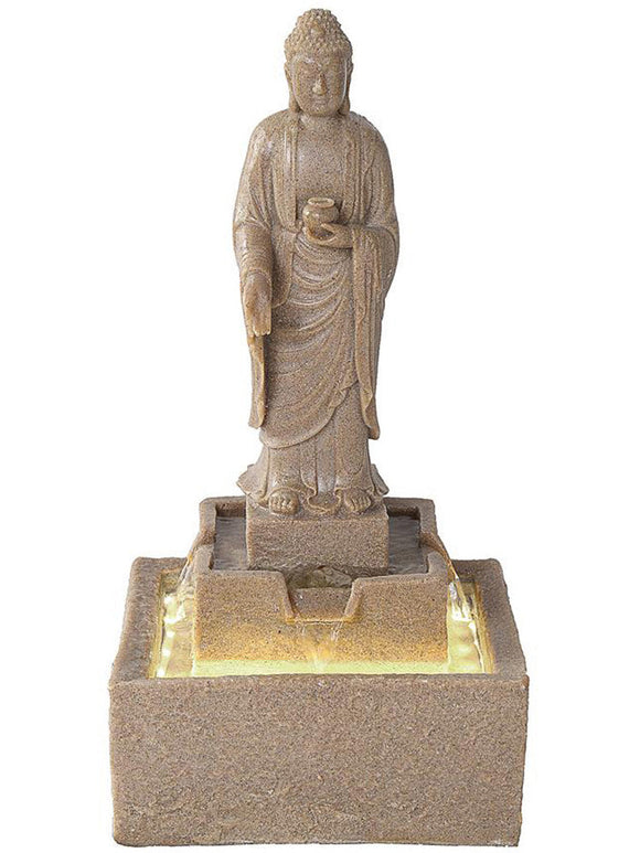 Faux Sandstone Buddha Standing over Basin Lighted Outdoor Fountain