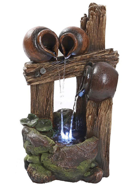 Tall Lighted Ancient Urns on Wood 18  Inch Pouring Outdoor Fountain