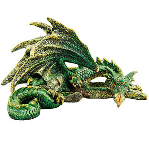 "Brightly Colored 3"" Green and Yellow Resting Decorative Dragon Sculpture"