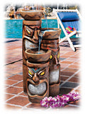 "Three Colorful Polynesian Tiki Columns 29"" Lighted Outdoor Fountain"