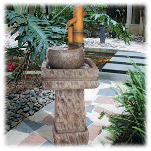 "Lighted Bamboo with Faux Stone Pedestal 42.5"" Outdoor Fountain"