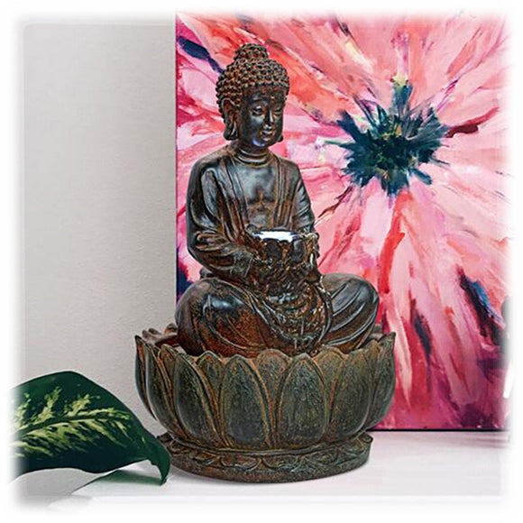 Antique Finish Buddha Statue on Lotus Base 15