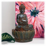 "Antique Finish Buddha Statue on Lotus Base 15"" Lighted Outdoor Fountain"