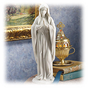 "Blessed Virgin Mary in Prayer Pose 11.5"" Decorative Marble Sculpture"