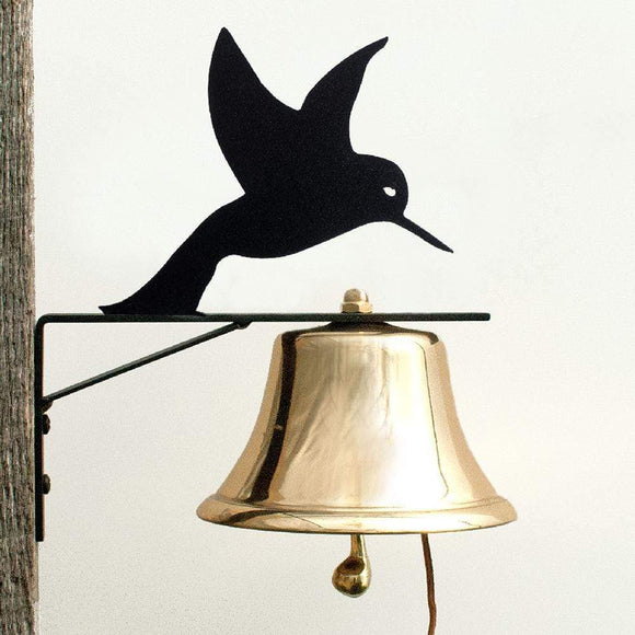 Black Metal Bracket with Silhouette of a Hovering Hummingbird with Shiny 6-inch Brass Bell