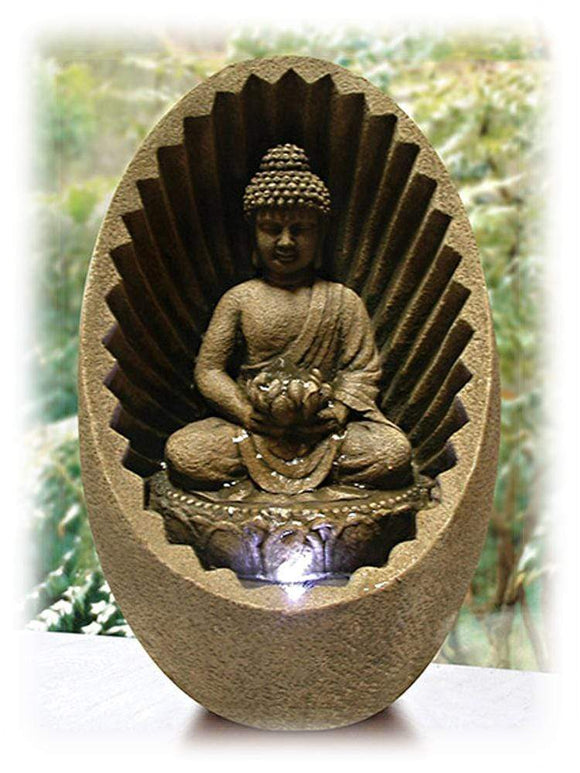 Buddha Statue in Brown Shell 11 Inch Lighted Indoor Tabletop Fountain - TabletopFountainsPlus