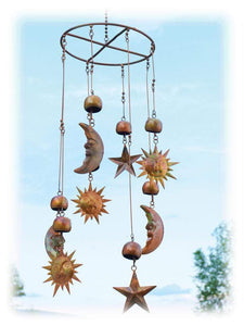 Durable Copper Finished Steel Celestial Sun Moon and Stars Mobile