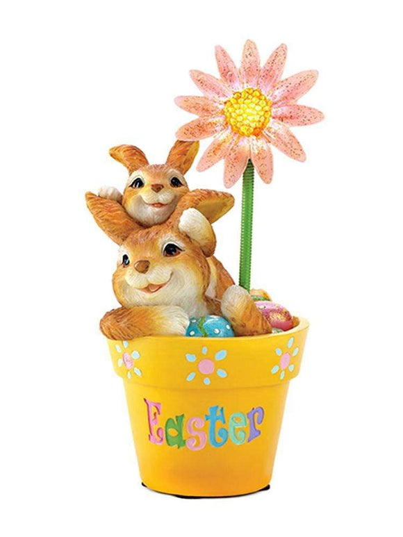 Easter Bunny Buddies Figurine Twinkling Daisy Flowerpot with Batteries TTFP