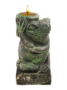 "Green 6"" Volcanic Rock Frog Holding a Tea Light Candle Sculpture"