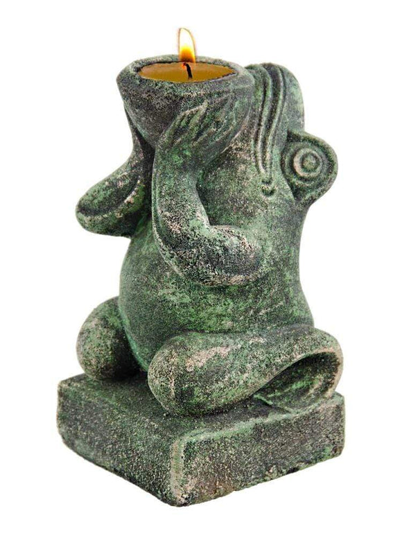 Green Volcanic Rock Frog 6 Inch Tea Light Candle Holder Sculpture TTFP