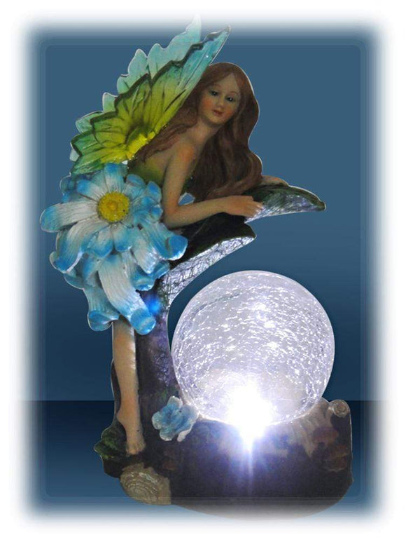 Solar Power Fairy with Lighted Glass Globe 7 Inch Outdoor Figurine TTFP