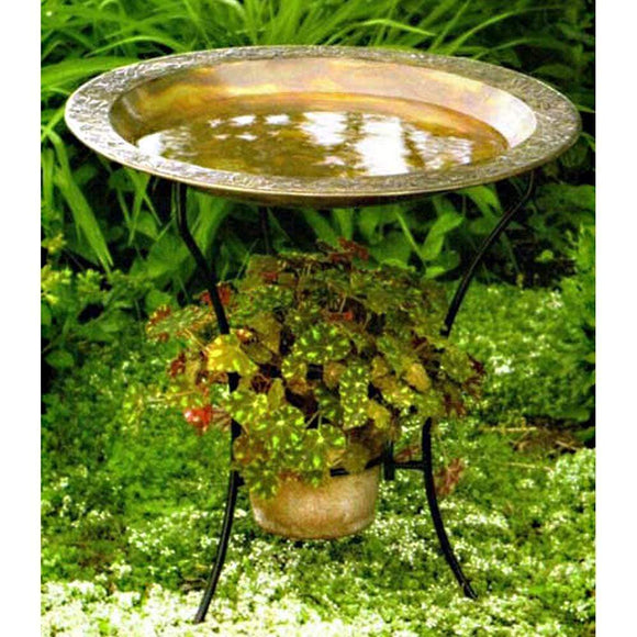 Embossed Copper Plated Bird Bath with Stand and Pot Holder