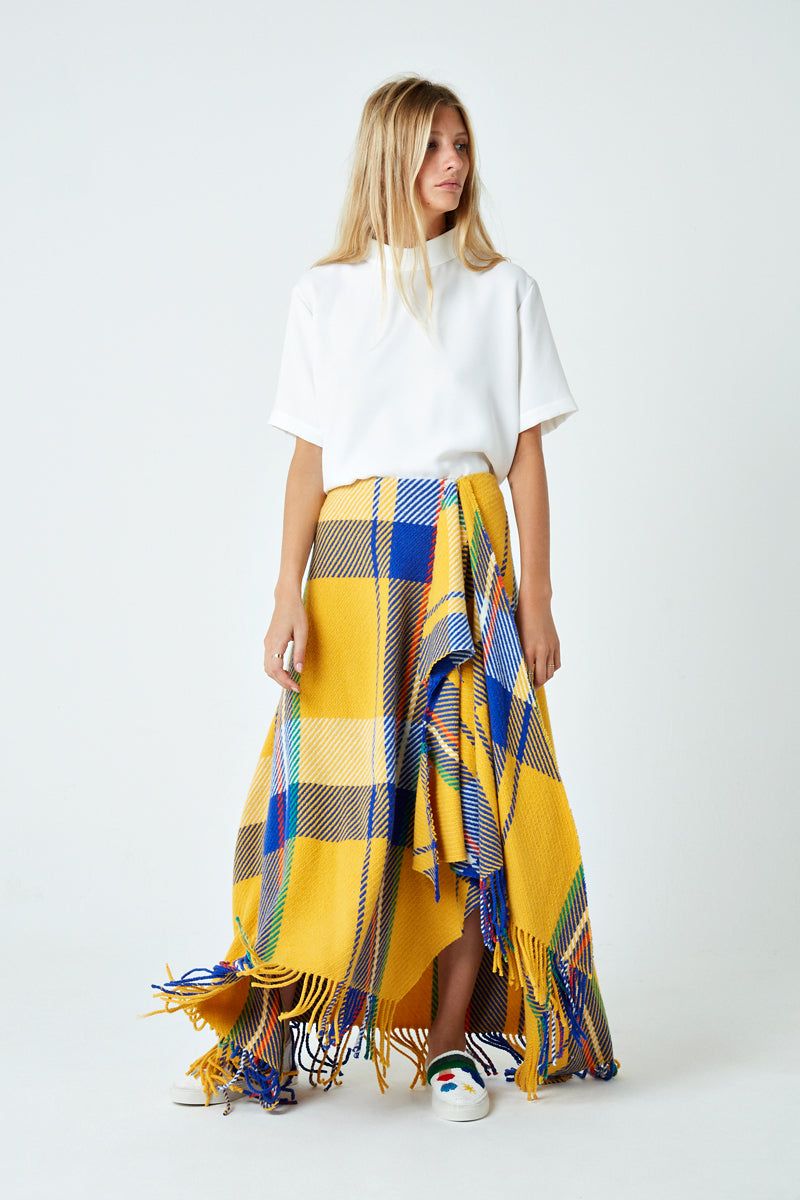 Front Draped Skirt with Fringing